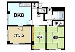 奈良県奈良市中山町の賃貸マンションの間取り