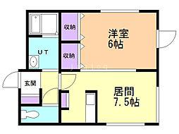 ChouChou北広島壱番館 2階1DKの間取り
