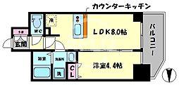 プレサンス北浜オリジン 4階1LDKの間取り