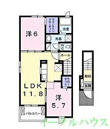 甘木鉄道 今隈駅 徒歩9分の賃貸アパート 2階2LDKの間取り
