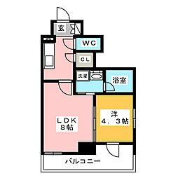 プラウドフラット木場II 10階1LDKの間取り