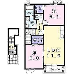 プラシードII番館[2階]の間取り