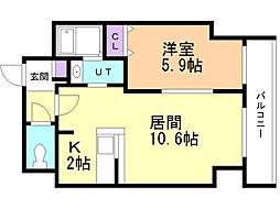 サンコート本郷通ガーデンヒルズ 12階1LDKの間取り