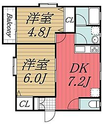 千葉県千葉市若葉区みつわ台5丁目の賃貸アパートの間取り