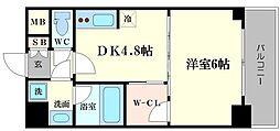 リッツ難波南II[6階]の間取り