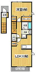 メゾンロアール3 A[201号室]の間取り