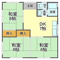 谷田戸建 1階3DKの間取り