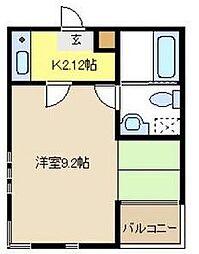 愛知県名古屋市昭和区小坂町2丁目の賃貸アパートの間取り