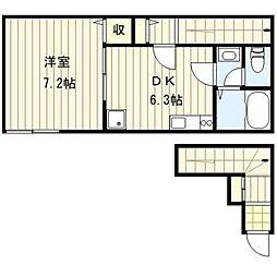東京都荒川区荒川3丁目の賃貸アパートの間取り