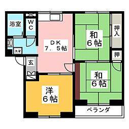 ロイヤルハウス八乙女B[1階]の間取り