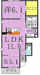 サイドガーデン南増尾 B棟[1階]の間取り