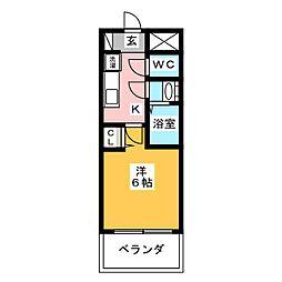 プレサンス名古屋幅下ファビュラス 5階1Kの間取り