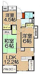 埼玉県さいたま市中央区鈴谷6丁目の賃貸マンションの間取り