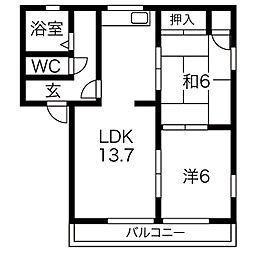 サンコーポNo.9[2階]の間取り