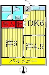 千葉県松戸市六高台1丁目の賃貸アパートの間取り