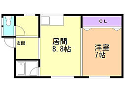 坂東アパート 2階1DKの間取り