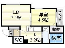 北海道札幌市中央区南6条西13丁目の賃貸マンションの間取り
