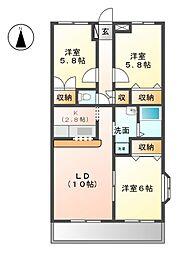 愛知県あま市新居屋大日の賃貸マンションの間取り