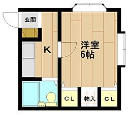 兵庫県神戸市北区鈴蘭台西町1丁目の賃貸アパートの間取り