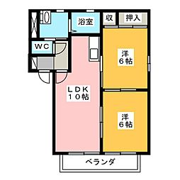 メルベーユ西小田 A[2階]の間取り