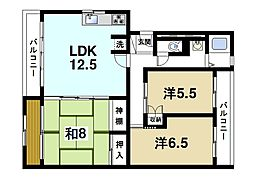 奈良県奈良市山陵町の賃貸マンションの間取り