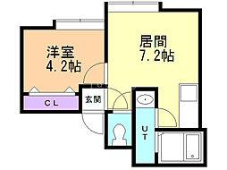 FLAT・J白石本通B棟 2階1DKの間取り
