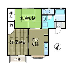 リッチハウスツインB[2階]の間取り