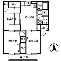 ディアコートS A棟[2階]の間取り