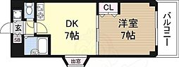 日大ロイヤル西中島 6階1DKの間取り