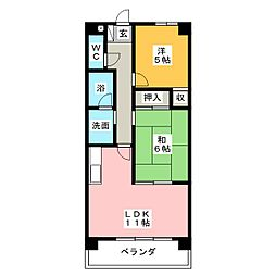 エクセル東須ヶ口[4階]の間取り