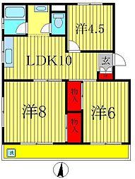 ニュー松戸コーポB棟[3階]の間取り