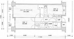 東京都目黒区目黒2丁目の賃貸マンションの間取り