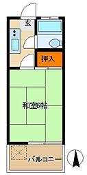 JR中央線 武蔵小金井駅 徒歩7分の賃貸アパート 2階1Kの間取り