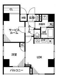 東京都中央区佃3丁目の賃貸マンションの間取り