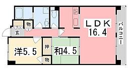 兵庫県姫路市日出町2丁目の賃貸マンションの間取り