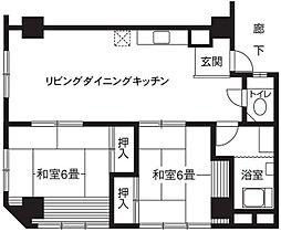 神奈川県横浜市鶴見区鶴見中央の賃貸マンションの間取り