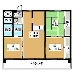 愛知県日進市香久山2丁目の賃貸マンションの間取り