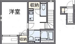 JR阪和線 久米田駅 徒歩9分の賃貸アパート 2階1Kの間取り