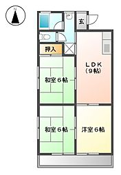 愛知県あま市甚目寺松山の賃貸マンションの間取り