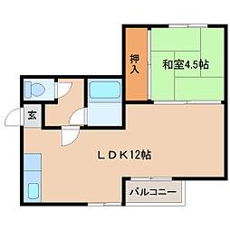 兵庫県尼崎市富松町4丁目の賃貸マンションの間取り