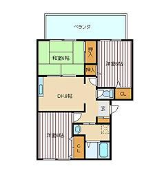 兵庫県神戸市垂水区桃山台3丁目の賃貸アパートの間取り