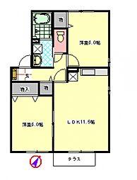 メゾン・アンソレイユIV[2階]の間取り