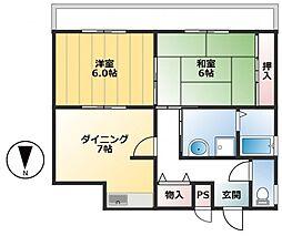 福居マンション西棟[3F号室]の間取り