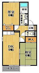 ウィング三宅 D棟[2階]の間取り