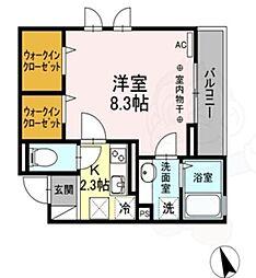 京王井の頭線 浜田山駅 徒歩9分の賃貸アパート 1階1Kの間取り