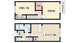 愛知県名古屋市瑞穂区前田町1丁目の賃貸アパートの間取り