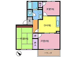 埼玉県春日部市牛島の賃貸アパートの間取り