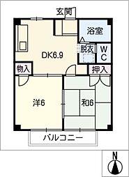 エスポワール内海B棟[1階]の間取り
