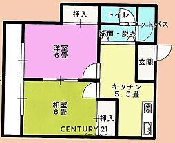 成東ハイツ 1階2DKの間取り