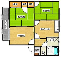 広島県安芸郡府中町みくまり3丁目の賃貸アパートの間取り
